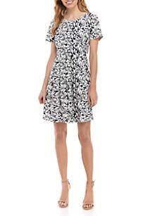 Kim Rogers® Navy Leaf Print Dress