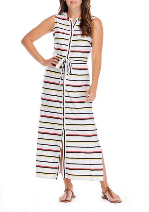 Womens Sleeveless Stripe Maxi Dress