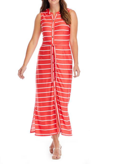 Womens Sleeveless Stripe Maxi Dress