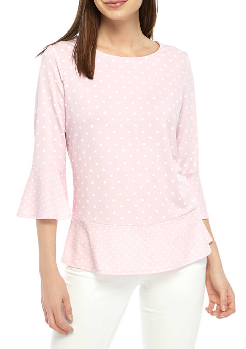 Womens 3/4 Sleeve Polished Dot Top