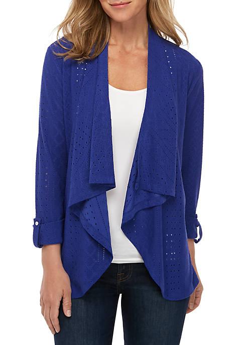 Kim Rogers® Textured Roll Sleeve Cardigan