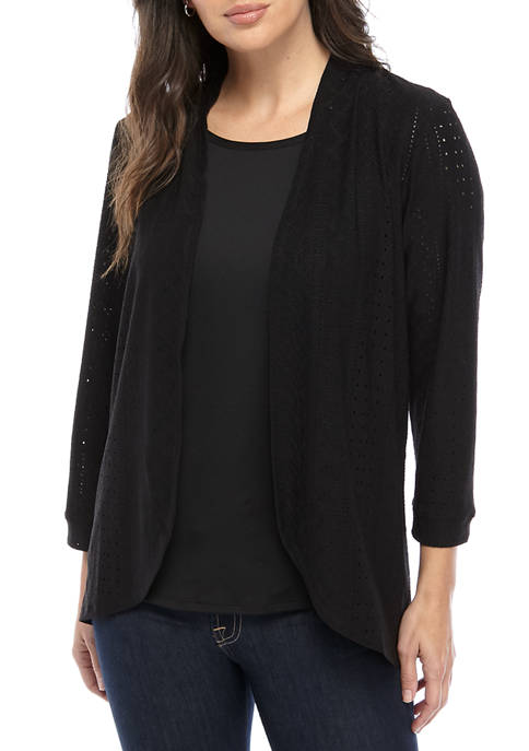 Kim Rogers® Womens Textured 2Fer Top