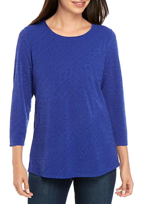 Kim Rogers® Textured Criss Cross Knit Top
