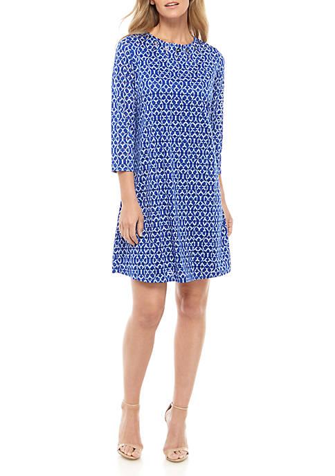 Kim Rogers® 3/4 Sleeve Textured Shadow Stripe Dress