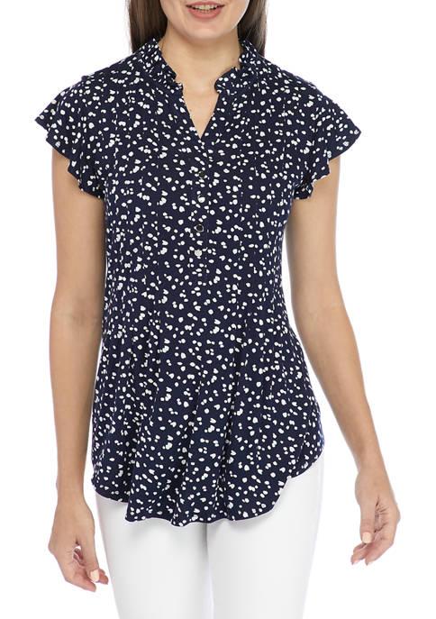 Kim Rogers® Womens Flutter Sleeve Top