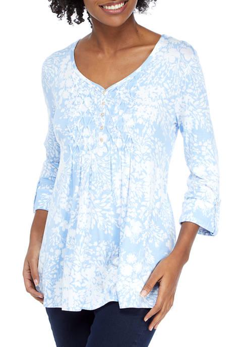 Kim Rogers® Womens Floral Honeycomb Top