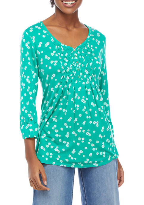 Womens Honeycomb Floral Top