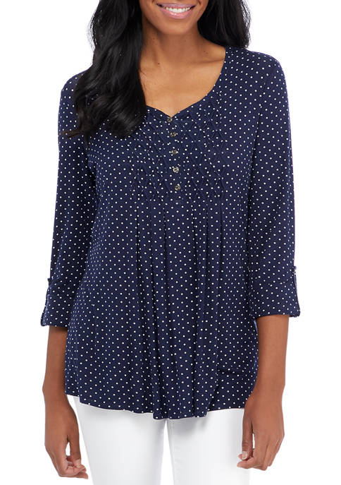 Kim Rogers® Womens 3/4 Sleeve Honeycomb Top