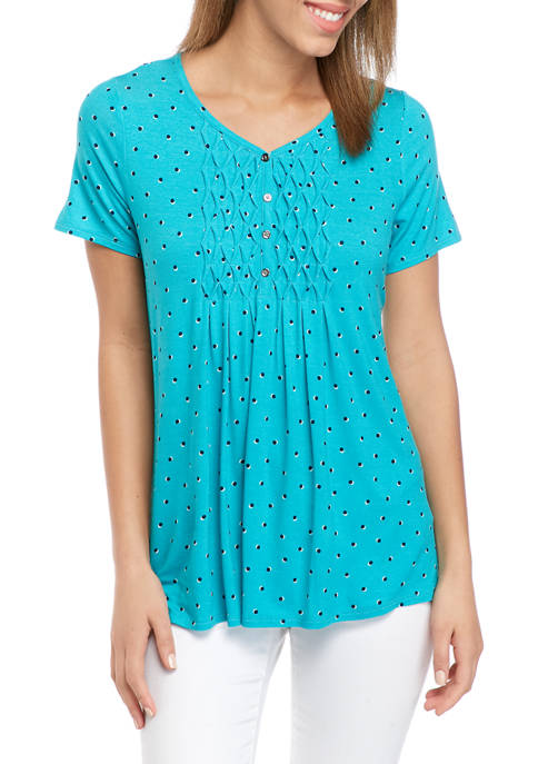 Kim Rogers® Womens Short Sleeve Honeycomb Top