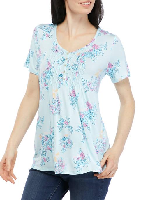 Kim Rogers® Womens Short Sleeve Honeycomb Henley Shirt