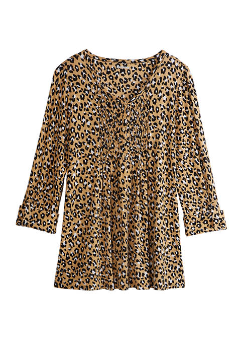 Womens 3/4 Sleeve Honeycomb Knit Leopard Top