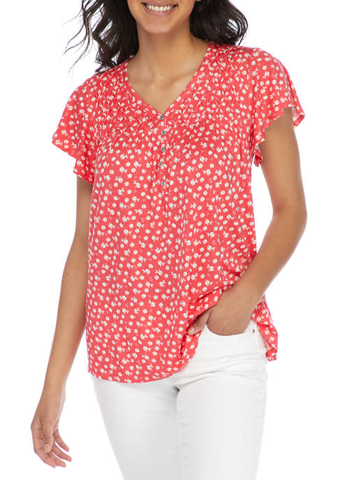 Kim Rogers® Womens Flutter Sleeve Floral Henley Top