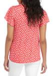 Womens Flutter Sleeve Floral Henley Top