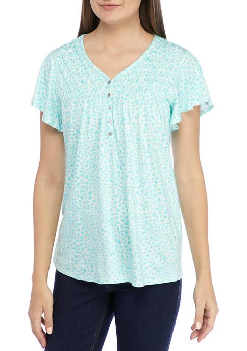 Kim Rogers® Womens Flutter Sleeve Honeycomb Top