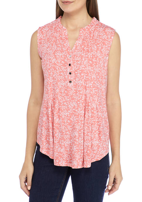 Kim Rogers® Womens Sleeveless Floral Henley Top