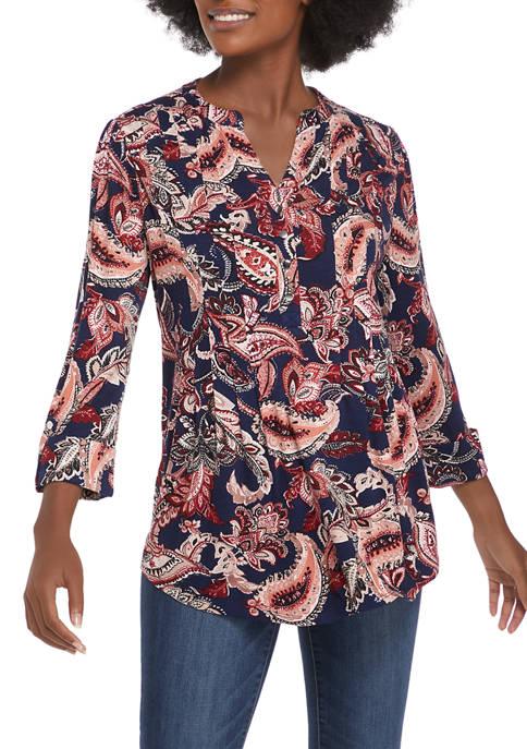 Kim Rogers® Womens 3/4 Sleeve Henley Paisley Top