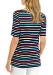 Womens Elbow Twist Keyhole Stripe Top