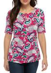Womens Elbow Twist Keyhole Paisley Shirt