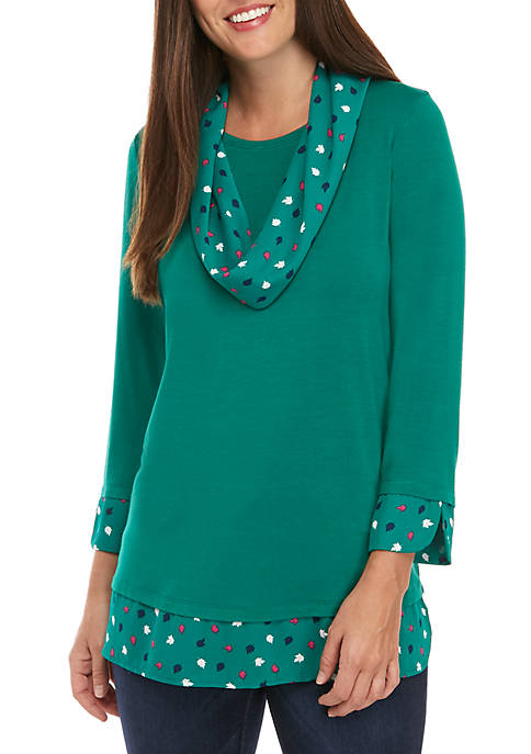 Kim Rogers® Coordinating Scarf 2Fer Top