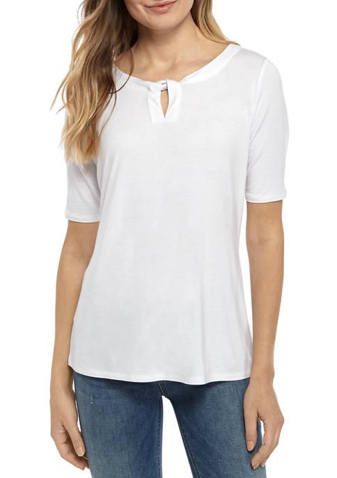Womens Elbow Twist Keyhole Shirt