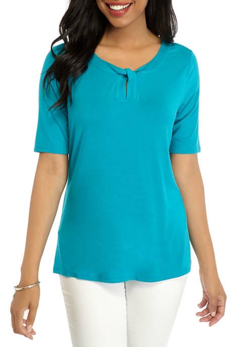 Kim Rogers® Womens Elbow Twist Keyhole Shirt