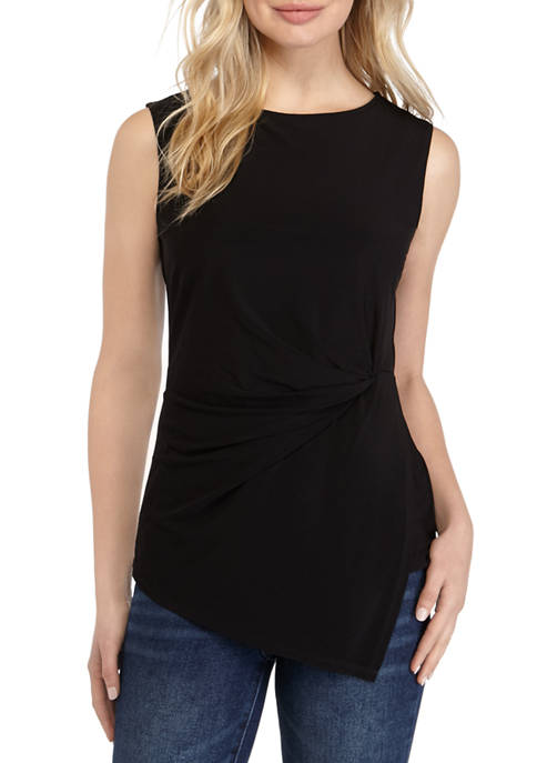 Kim Rogers® Womens Sleeveless Knot Front Top