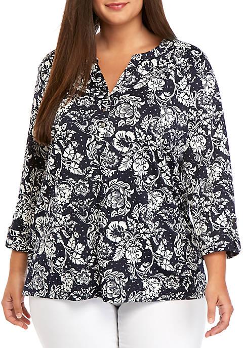 Kim Rogers® Plus Size Long Sleeve Henley Shirt