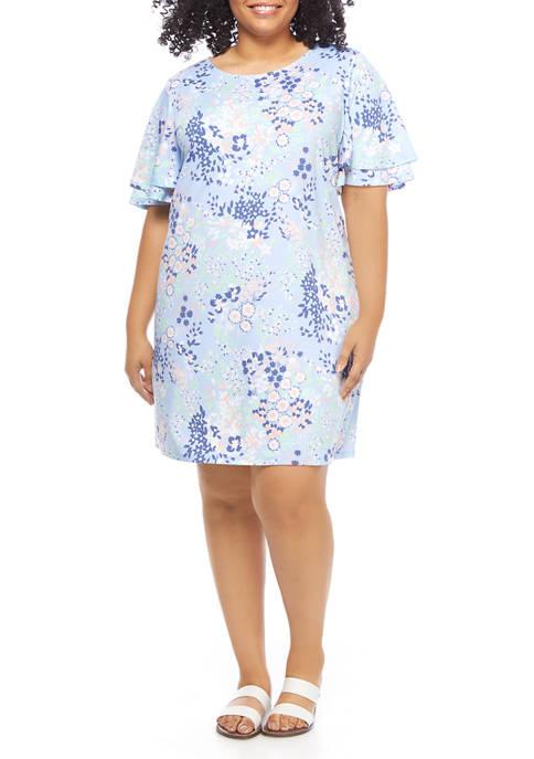 Kim Rogers® Plus Size Short Flutter Sleeve Floral