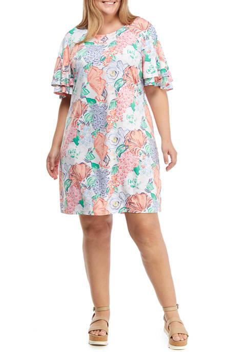 Plus Size Short Flutter Sleeve Summer Bouquet Dress