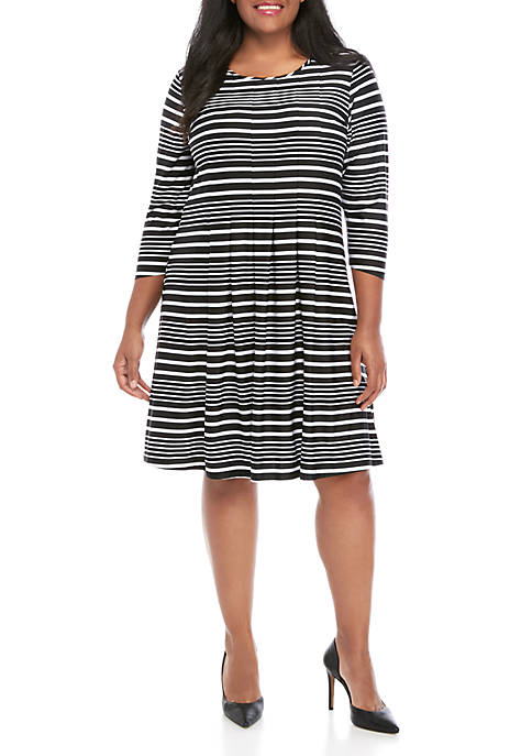 Kim Rogers® Plus Size 3/4 Sleeve Stripe Dress