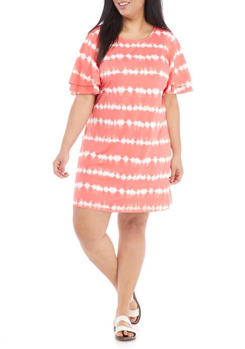 Plus Size Flutter Sleeve Tie Dye Striped Dress