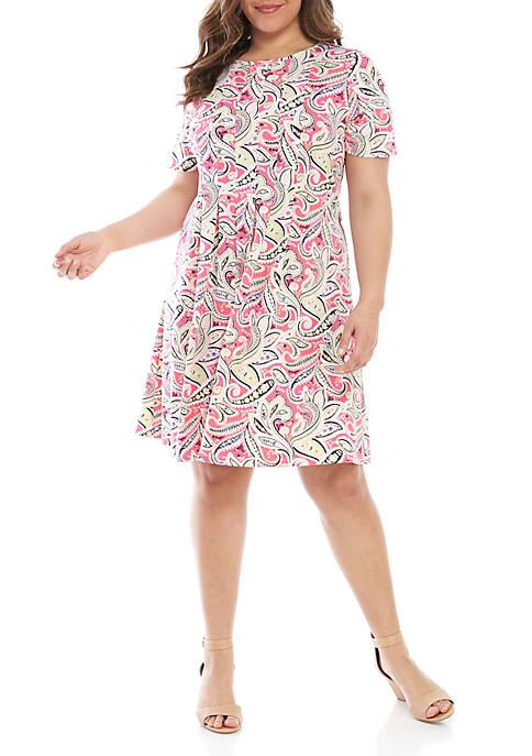 Kim Rogers® Plus Size Short Sleeve Paisley Dress