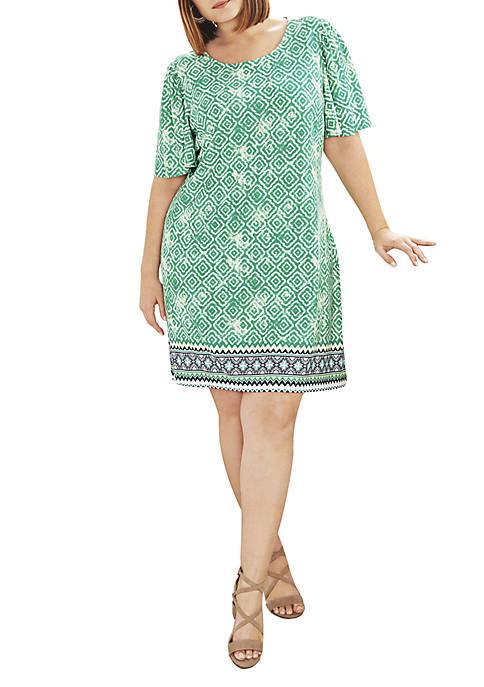 Kim Rogers® Plus Size Bell Sleeve Geo Dress