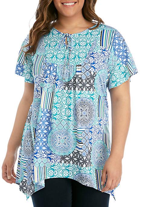 Kim Rogers® Plus Size Short Sleeve Bib Front