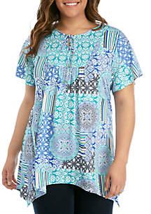 Kim Rogers® Plus Size Short Sleeve Bib Front Tie Top
