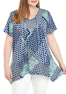 Kim Rogers® Plus Size Patchwork Top