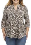 Plus Size Roll Tab Animal Print Henley Shirt