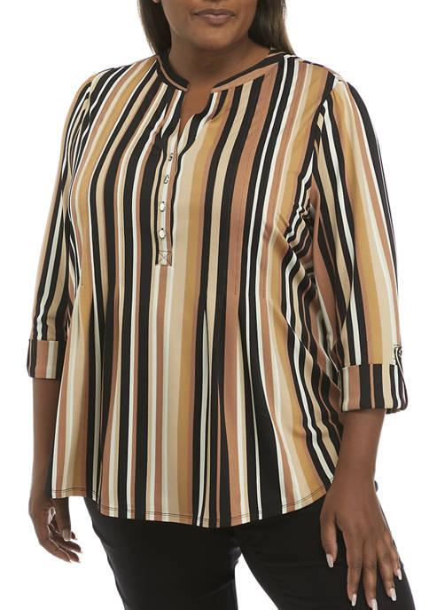 Kim Rogers® Plus Size Vertical Stripe Henley Top