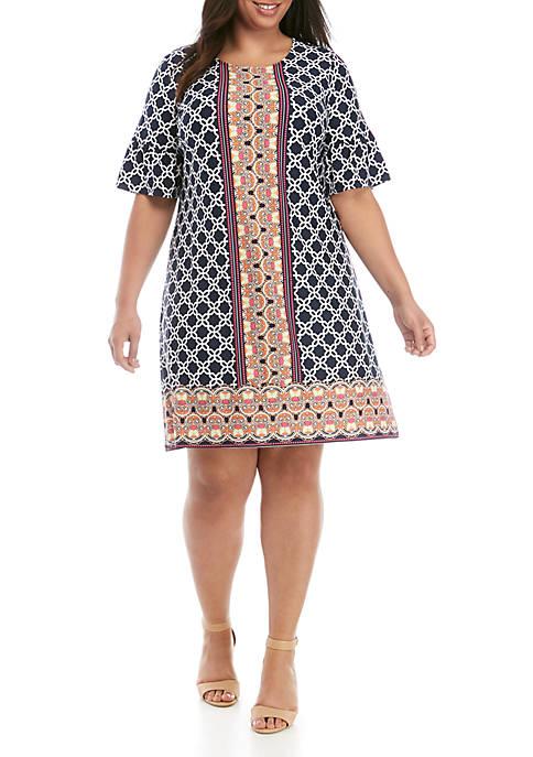 Kim Rogers® Plus Size Border Print Bell Sleeve