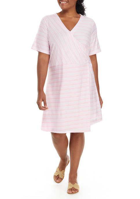 Kim Rogers® Plus Size Short Sleeve Faux Wrap
