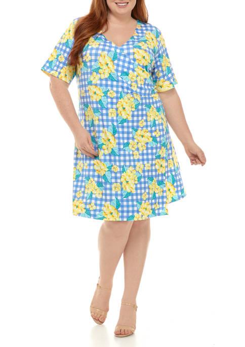 Kim Rogers® Plus Size Faux Wrap Dress