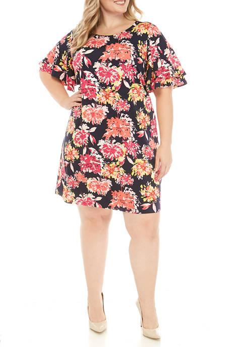 Kim Rogers® Plus Size Flutter Sleeve Dress