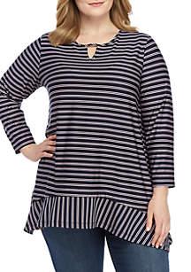 Kim Rogers® Plus Size Shadow Stripe Shark Bite Hem Top