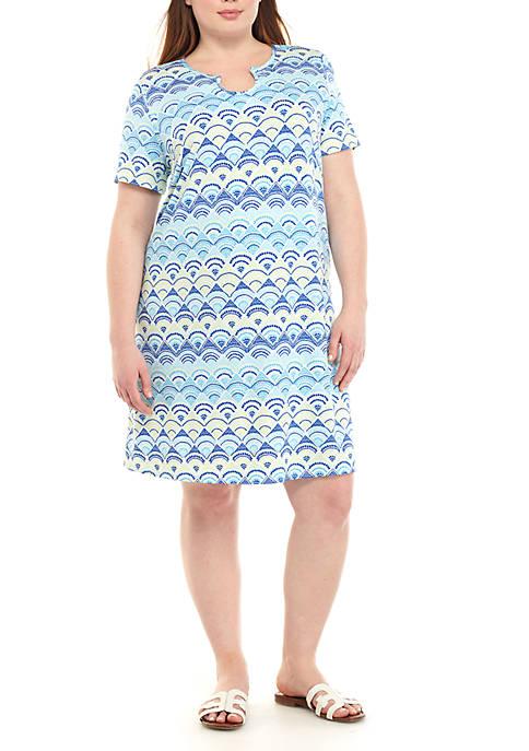 Kim Rogers® Plus Size Printed Horseshoe Neck Dress