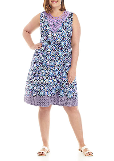 Kim Rogers® Plus Size Sleeveless Medallion Dress