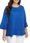 Plus Size 3/4 Sleeve Mixed Dot Top