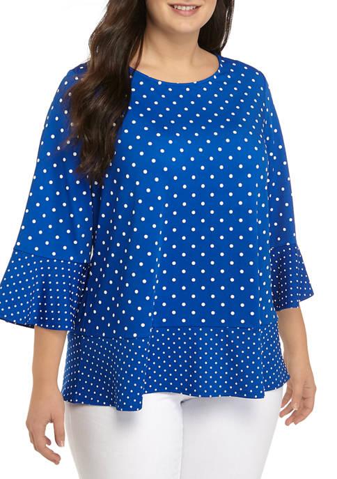 Kim Rogers® Plus Size 3/4 Sleeve Mixed Dot