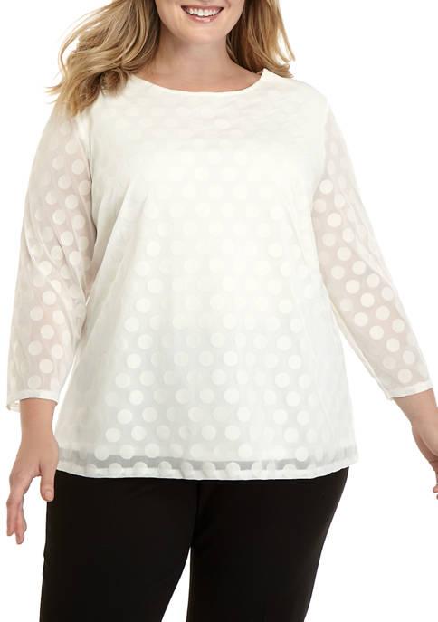 Kim Rogers® Plus Size 3/4 Sleeve Flock Dot