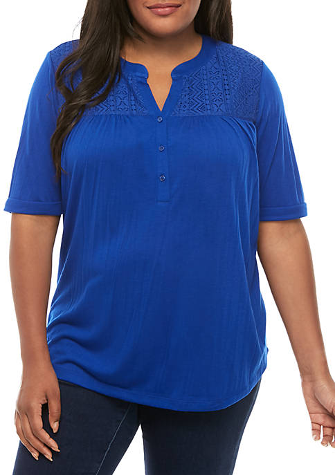 Kim Rogers® Plus Size Crochet Yoke Top