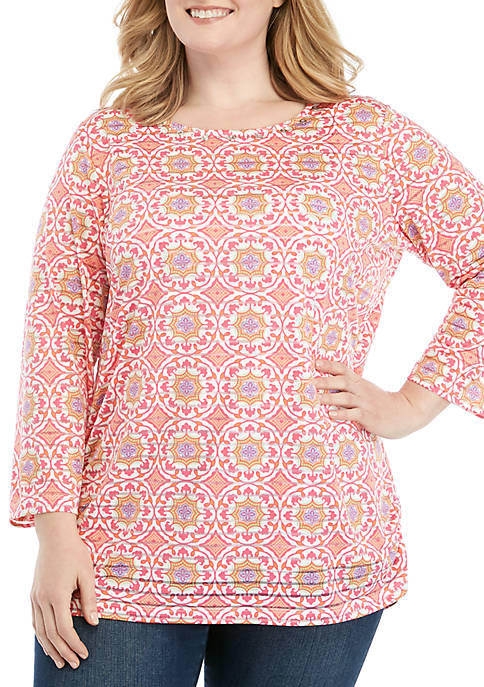 Kim Rogers® Plus Size Printed Textured Stripe Tunic